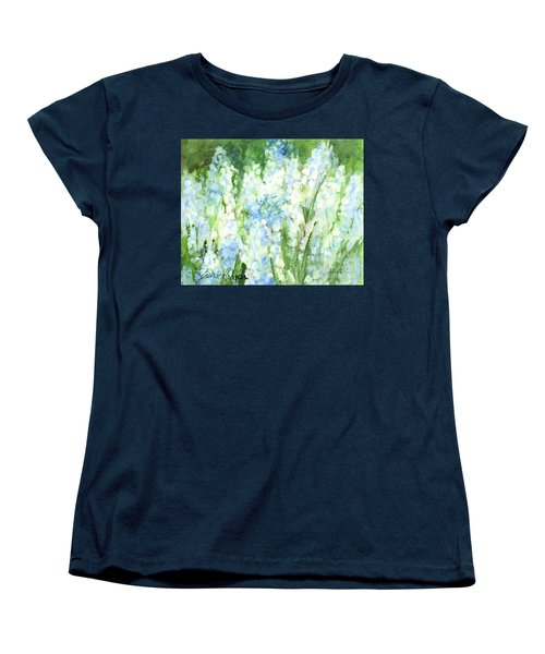 Women's T-Shirt (Standard Cut) featuring the painting Light Blue Grape Hyacinth. by Laurie Rohner