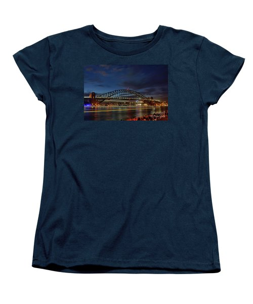 Light Trails On The Harbor By Kaye Menner Women's T-Shirt (Standard Cut) by Kaye Menner