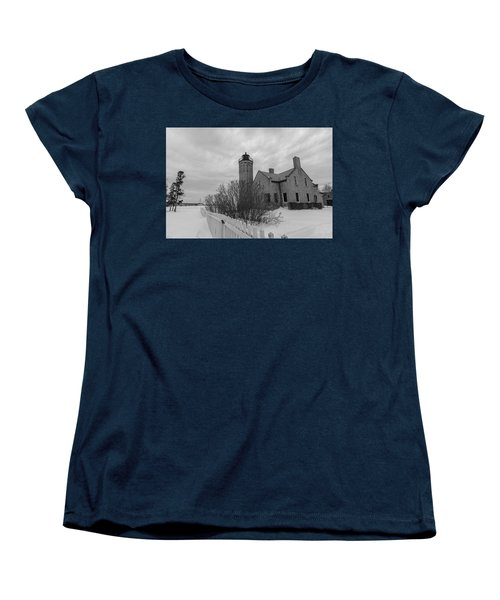 Women's T-Shirt (Standard Cut) featuring the photograph Lighthouse And Mackinac Bridge Winter Black And White  by John McGraw
