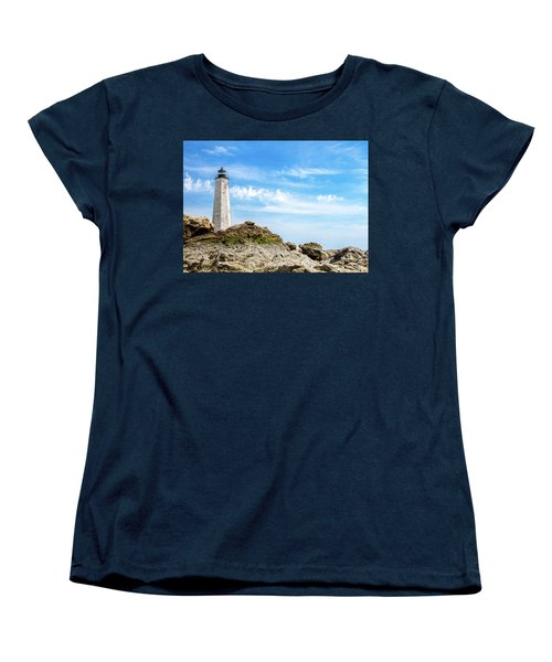 Women's T-Shirt (Standard Cut) featuring the photograph Lighthouse And Rocks by Dawn Romine