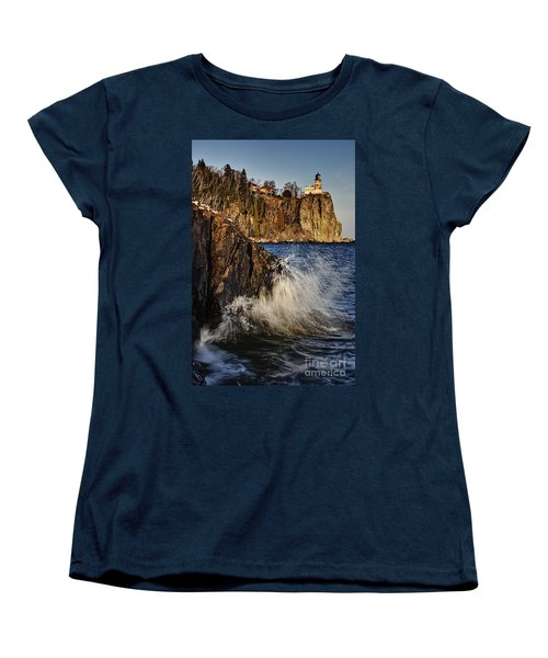 Women's T-Shirt (Standard Cut) featuring the photograph Lighthouse And Spray by Larry Ricker