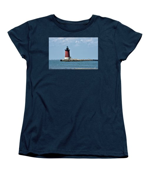 Women's T-Shirt (Standard Cut) featuring the photograph Delaware Breakwater East End Lighthouse - Lewes Delaware by Brendan Reals