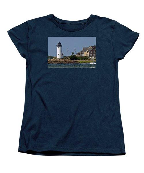 Lighthouse In The Ipswich Bay Women's T-Shirt (Standard Cut) by Alex Galkin