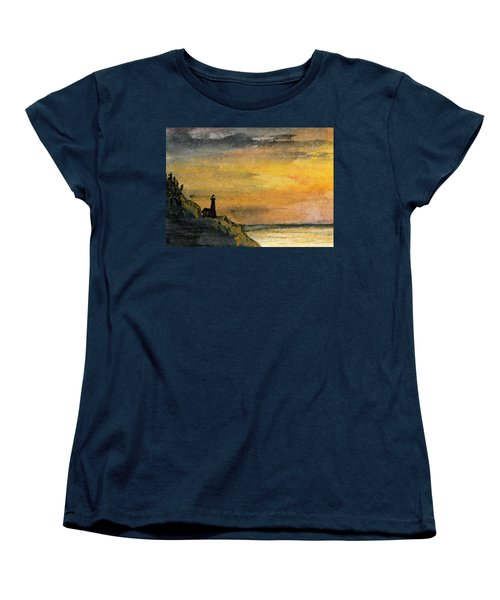 Lighthouse Oversees Coast Women's T-Shirt (Standard Cut) by R Kyllo