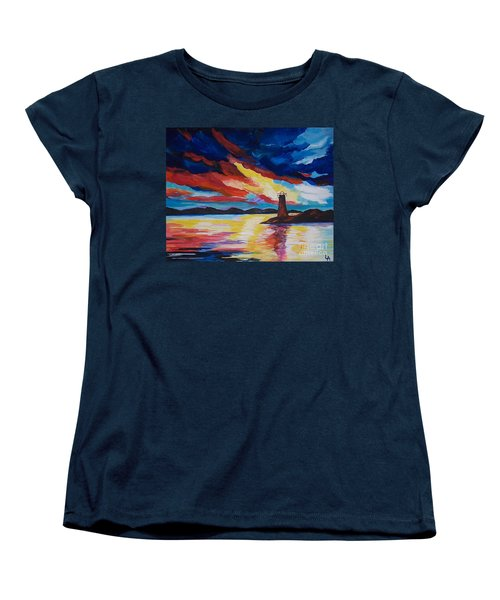 Women's T-Shirt (Standard Cut) featuring the painting Lighthouse Storm by Leslie Allen