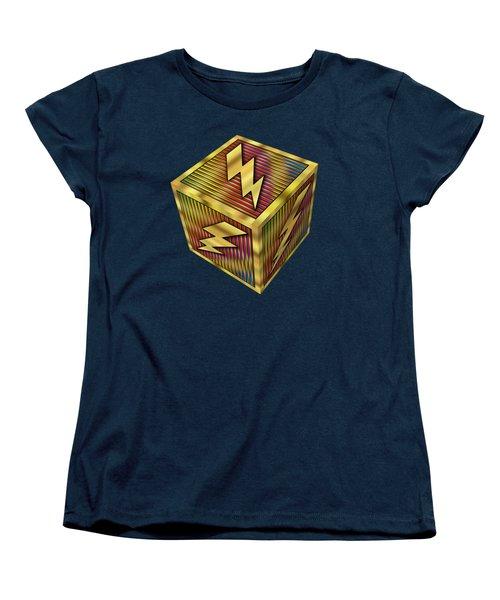 Women's T-Shirt (Standard Cut) featuring the digital art Lightning Bolt Cube - Transparent by Chuck Staley