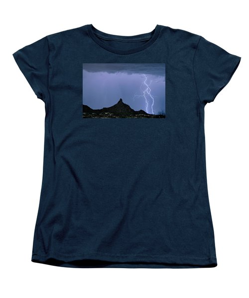 Women's T-Shirt (Standard Cut) featuring the photograph Lightning Bolts And Pinnacle Peak North Scottsdale Arizona by James BO Insogna
