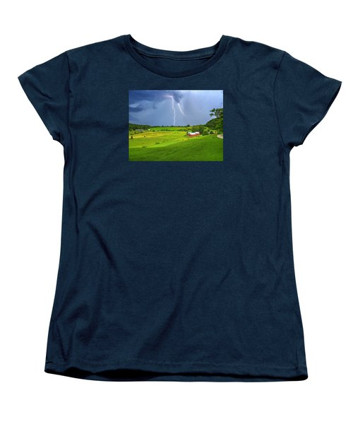 Lightning Storm Over Jenne Farm Women's T-Shirt (Standard Cut) by John Vose