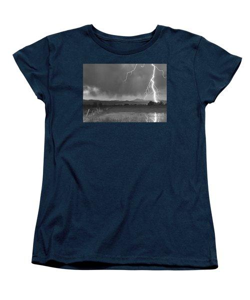 Lightning Striking Longs Peak Foothills 5bw Women's T-Shirt (Standard Cut) by James BO  Insogna