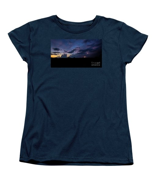 Women's T-Shirt (Standard Cut) featuring the photograph Lightning Sunset by Brian Jones
