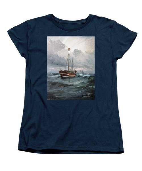 Women's T-Shirt (Standard Cut) featuring the painting Lightship At Skagen Reef by Pg Reproductions