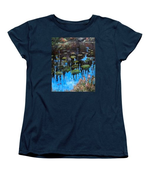 Lilly Pads And Reflections Women's T-Shirt (Standard Cut) by Barbara O'Toole