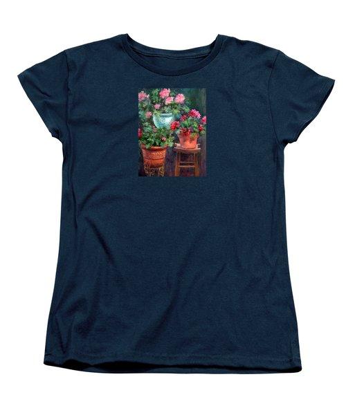 Lil's Geraniums Women's T-Shirt (Standard Cut) by Jill Musser