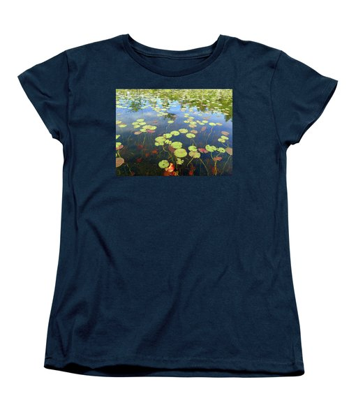 Lily Pads And Reflections Women's T-Shirt (Standard Cut) by Susan Lafleur
