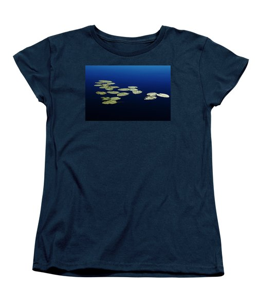 Women's T-Shirt (Standard Cut) featuring the photograph Lily Pads Floating On River by Debbie Oppermann