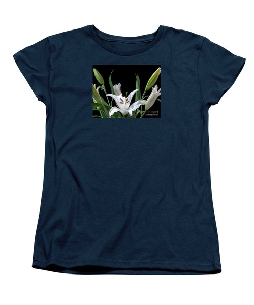 A White Oriental Lily Surrounded Women's T-Shirt (Standard Cut) by David Perry Lawrence