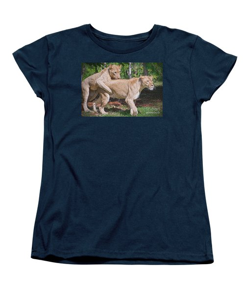 Women's T-Shirt (Standard Cut) featuring the painting Lion Backer by Judy Kay