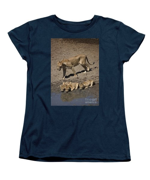 Lion Cubs And Mom Get A Drink Women's T-Shirt (Standard Cut) by Darcy Michaelchuk