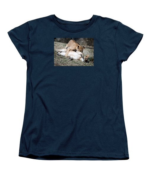 Lion Cubs At Play Women's T-Shirt (Standard Cut) by Cathy Donohoue