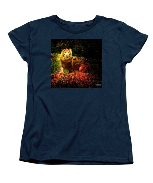 Women's T-Shirt (Standard Cut) featuring the photograph Lion In The Wilderness by Annie Zeno