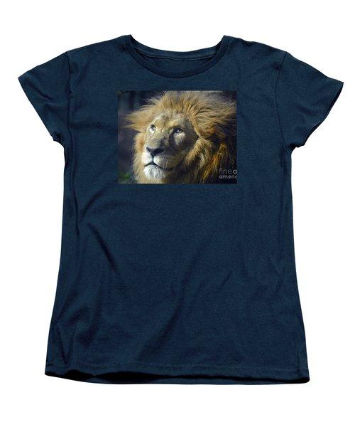 Women's T-Shirt (Standard Cut) featuring the photograph Lion Portrait by Savannah Gibbs