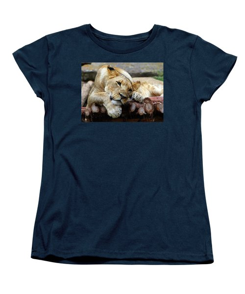 Lion Resting Women's T-Shirt (Standard Cut) by Inspirational Photo Creations Audrey Woods
