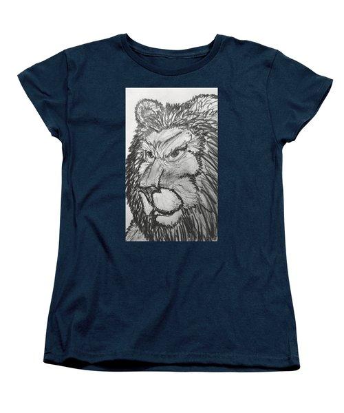 Lion Sketch  Women's T-Shirt (Standard Cut) by Yshua The Painter