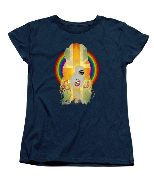 Lioness - Fierce Rainbow - Amy Winehouse Portrait Women's T-Shirt (Standard Cut) by Big Fat Arts