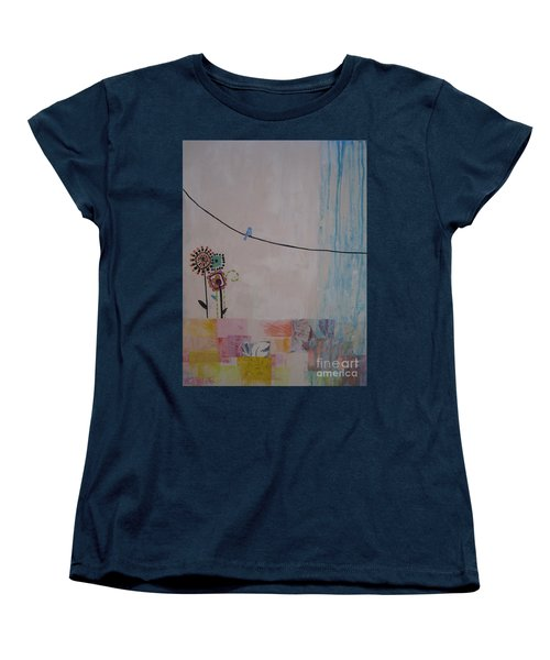 Women's T-Shirt (Standard Cut) featuring the painting Little Birdie by Ashley Price