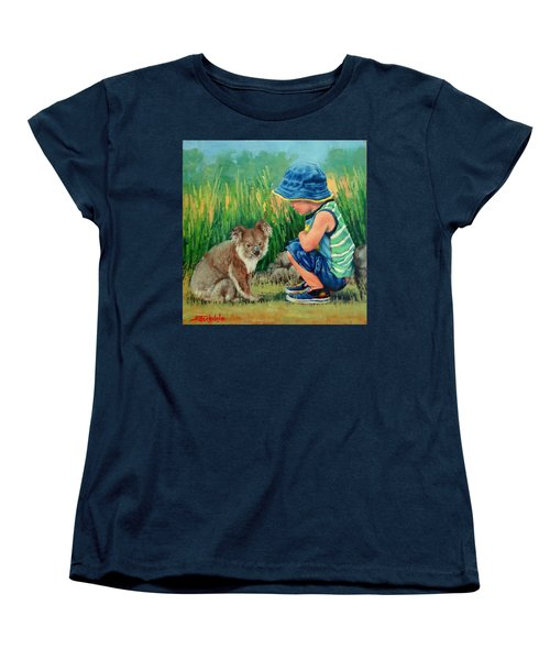 Women's T-Shirt (Standard Cut) featuring the painting Little Friends by Margaret Stockdale