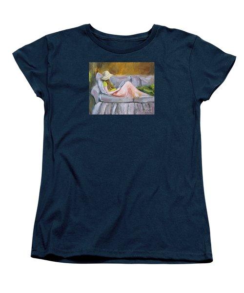 Women's T-Shirt (Standard Cut) featuring the painting Little Reader by Jennifer Beaudet