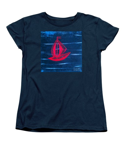 Women's T-Shirt (Standard Cut) featuring the painting Little Red Boat  by Jacqueline McReynolds