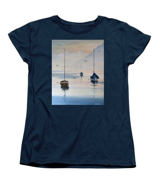Locarno Boats In February-2 Women's T-Shirt (Standard Cut) by David Gilmore