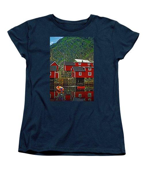 Lofoten Fishing Huts Women's T-Shirt (Standard Cut) by Steve Harrington