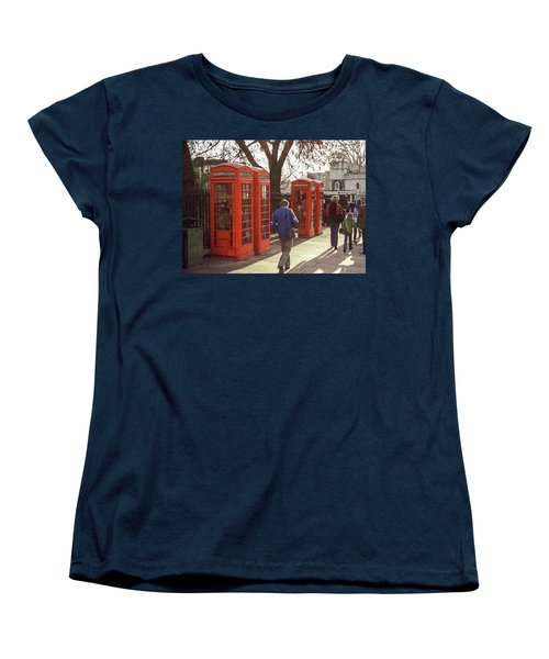 Women's T-Shirt (Standard Cut) featuring the photograph London Call Boxes by Jim Mathis