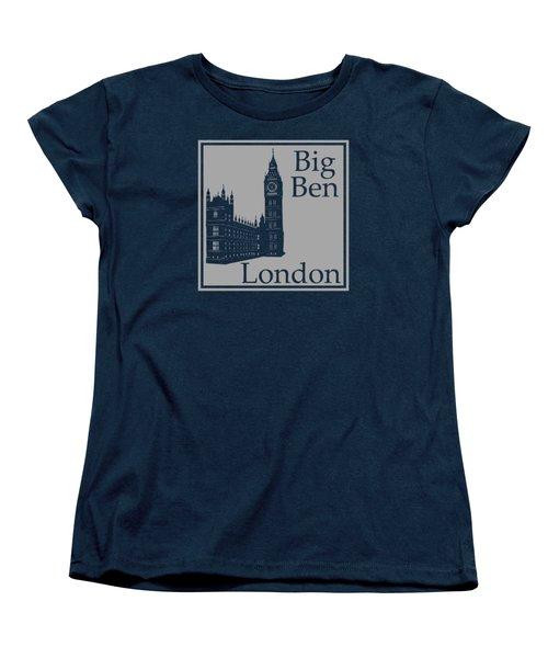 London's Big Ben In Gray Women's T-Shirt (Standard Cut) by Custom Home Fashions
