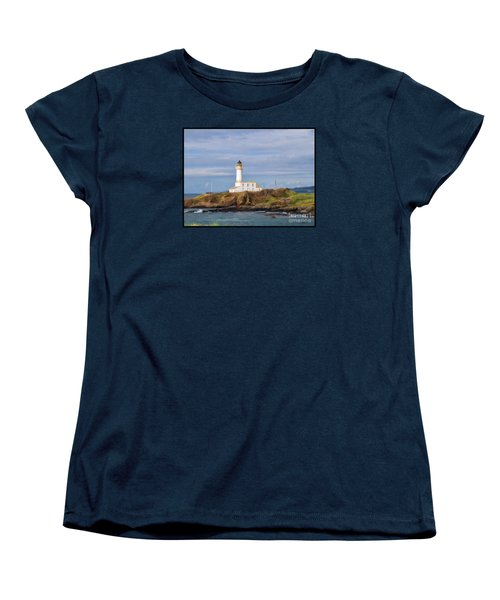 Women's T-Shirt (Standard Cut) featuring the photograph Lone Lighthouse In Scotland by Roberta Byram
