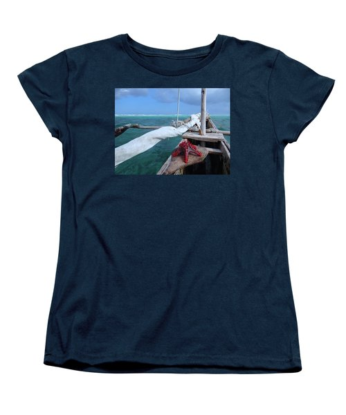 Lone Red Starfish On A Wooden Dhow 1 Women's T-Shirt (Standard Fit)