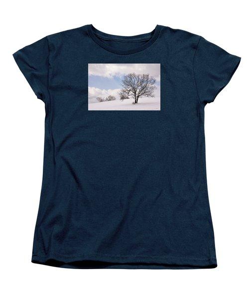 Lone Tree In Snow Women's T-Shirt (Standard Cut) by Betty Denise