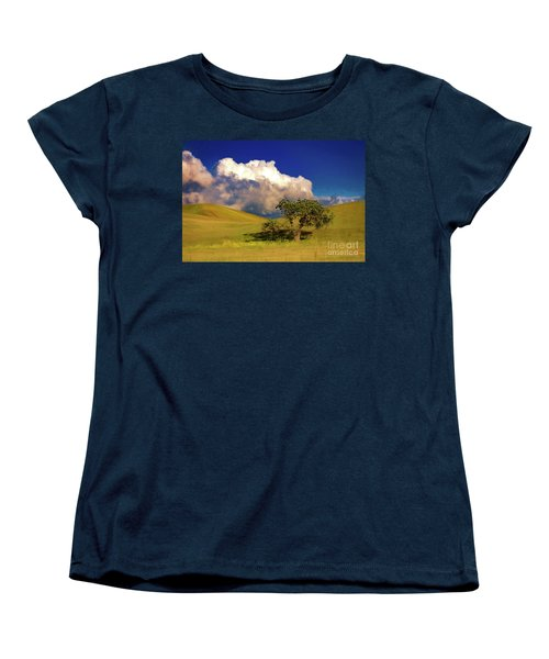 Women's T-Shirt (Standard Cut) featuring the photograph Lone Tree With Storm Clouds by John A Rodriguez