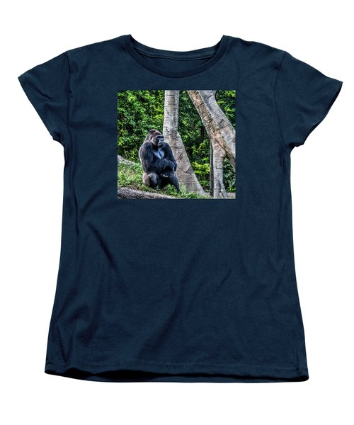 Women's T-Shirt (Standard Cut) featuring the photograph Lonely Gorilla by Joann Copeland-Paul
