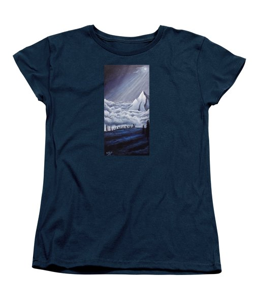 Women's T-Shirt (Standard Cut) featuring the painting Lonely Mountain by Dan Wagner