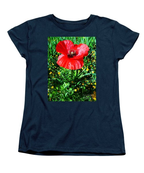Lonely Poppy Women's T-Shirt (Standard Cut) by Don Pedro De Gracia