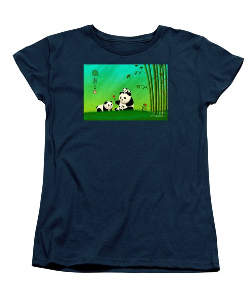 Longevity Panda Family Asian Art Women's T-Shirt (Standard Cut) by John Wills