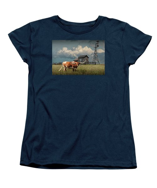Longhorn Steer In A Prairie Pasture By Windmill And Old Gray Wooden Barn Women's T-Shirt (Standard Cut)