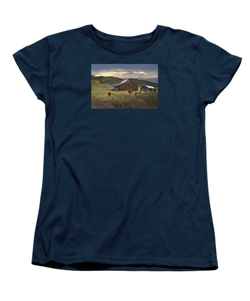 Women's T-Shirt (Standard Cut) featuring the photograph Longhorns On The Road To Steamboat Lake by John Hix