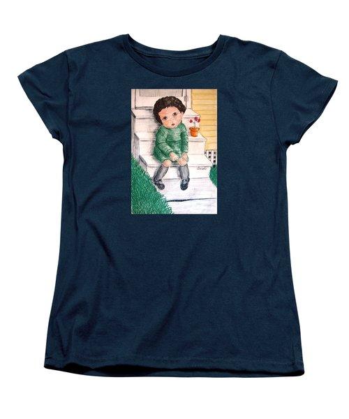 Lonley Girl On Back Step Women's T-Shirt (Standard Cut)