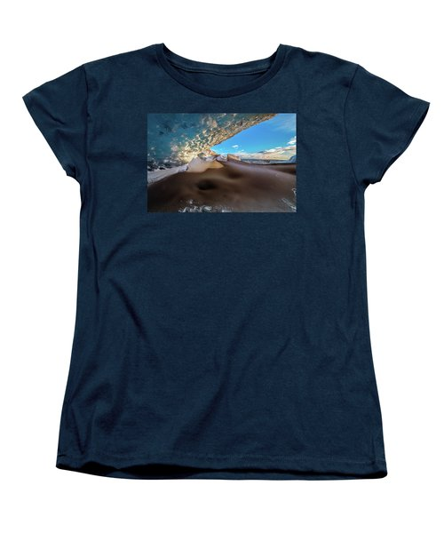 Women's T-Shirt (Standard Cut) featuring the photograph Look Out From Glacier Cave by Allen Biedrzycki