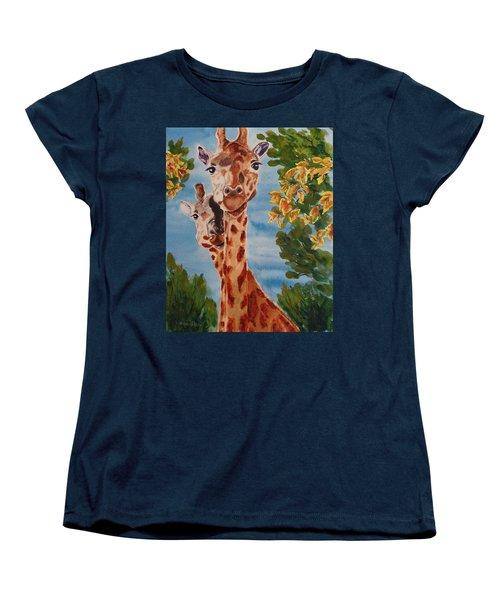 Women's T-Shirt (Standard Cut) featuring the painting Lookin Back by Karen Ilari