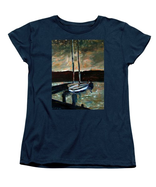 Women's T-Shirt (Standard Cut) featuring the painting Looking Across Upper Lake Camp Wayne by Charlie Spear